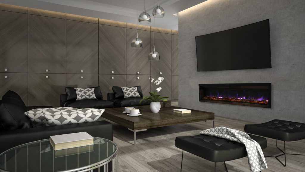 Ambiance Electric Fireplace IW-74 in Contemporary Setting